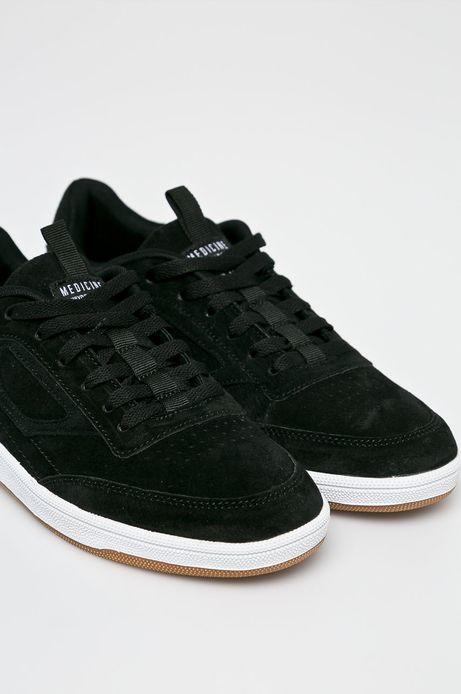 Buty męskie czarne ze skóry zamszowej