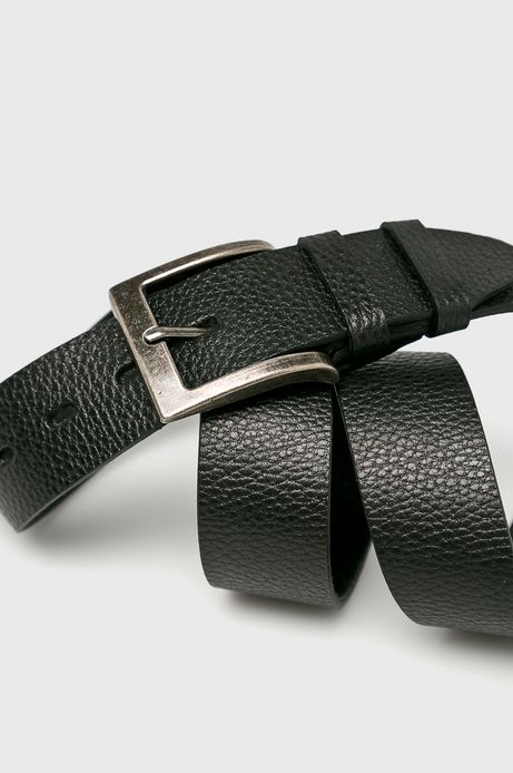 Pasek męski czarny skórzany