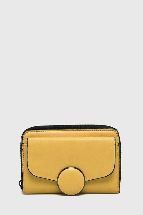 Portfel damski żółty ze skóry ekologicznej