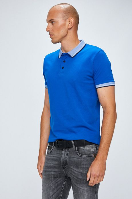 Man's Polo męskie niebieskie gładkie
