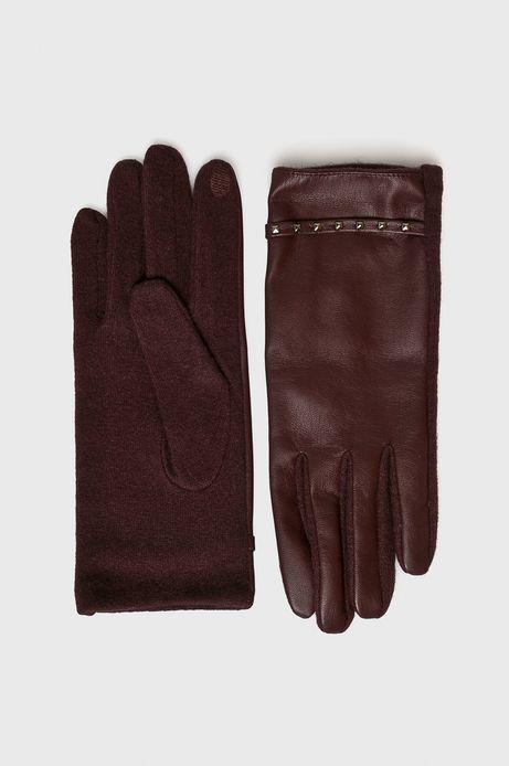 Rękawiczki damskie bordowe z ozdobnymi wstawkami