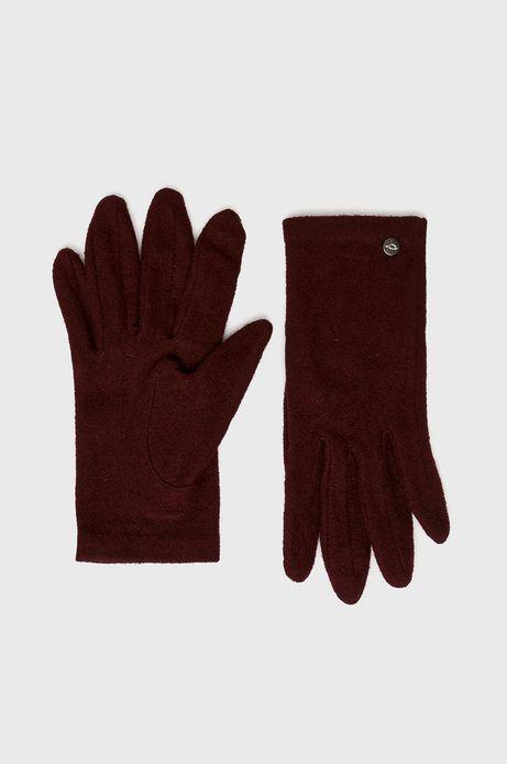 Rękawiczki damskie czerwone wełniane