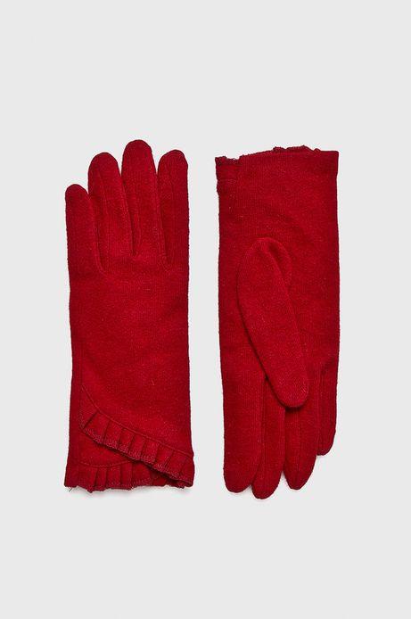 Rękawiczki damskie czerwone cienkie z falbanką