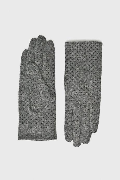 Rękawiczki damskie szare w kropki