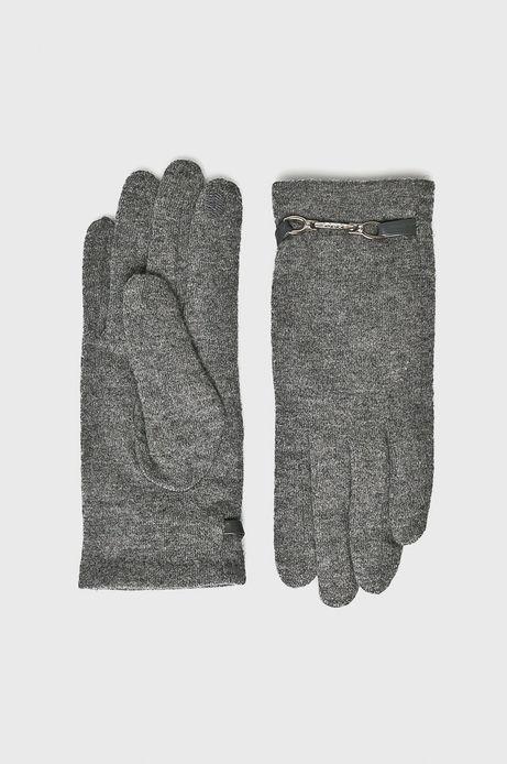 Rękawiczki damskie szare z ozdobnymi wstawkami