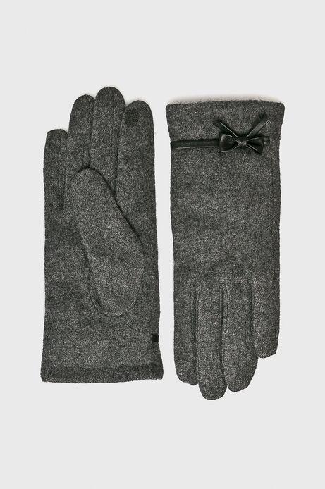 Rękawiczki damskie szare z kokardką