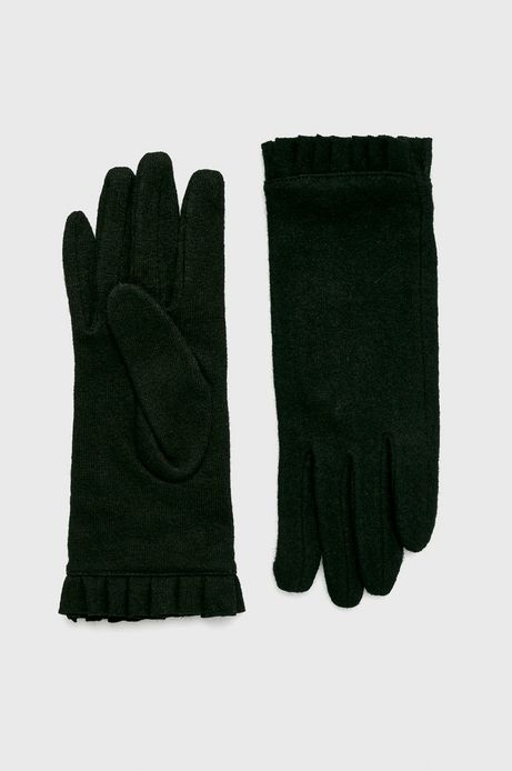 Rękawiczki damskie czarne z wełną