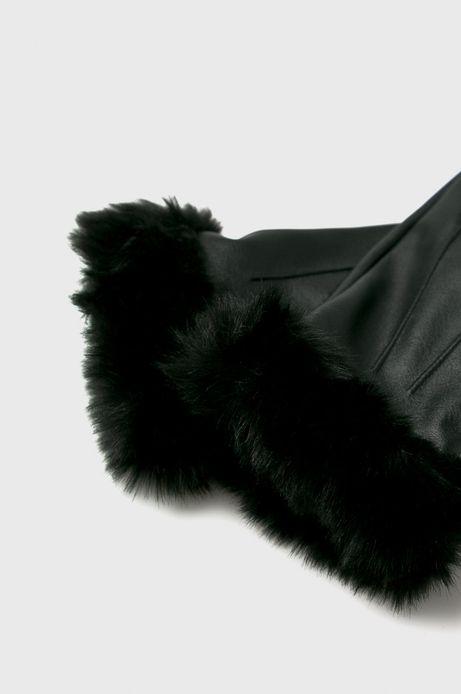 Rękawiczki damskie czarne z futerkiem