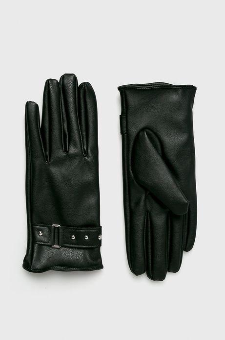 Rękawiczki damskie czarne z ozdobnymi wstawkami