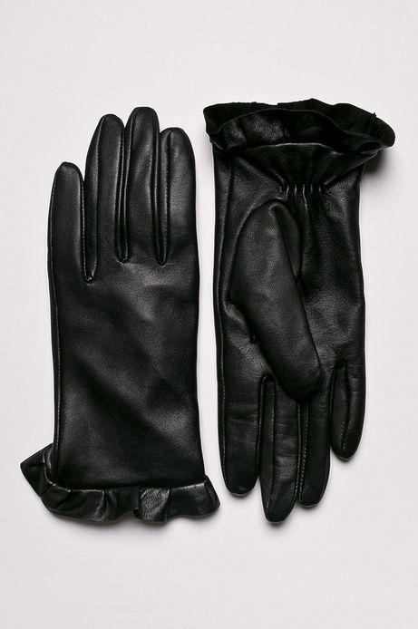 Rękawiczki damskie z falbanką skórzane czarne