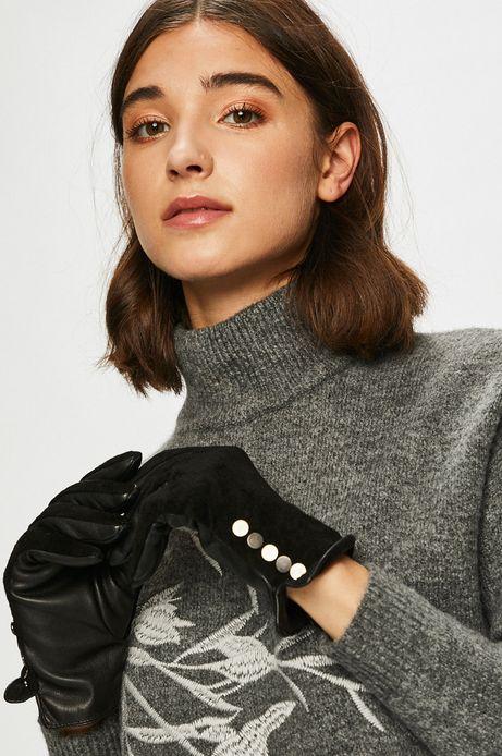 Rękawiczki damskie z ozdobnymi detalami czarne