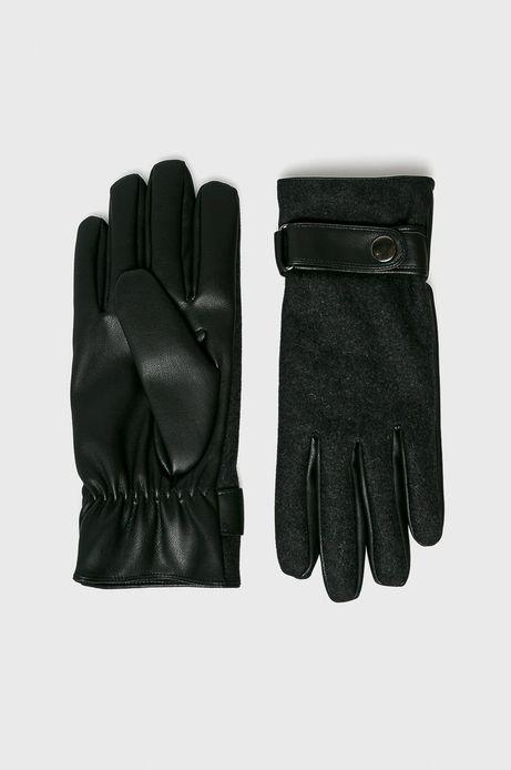 Rękawiczki męskie szare z zapięciem