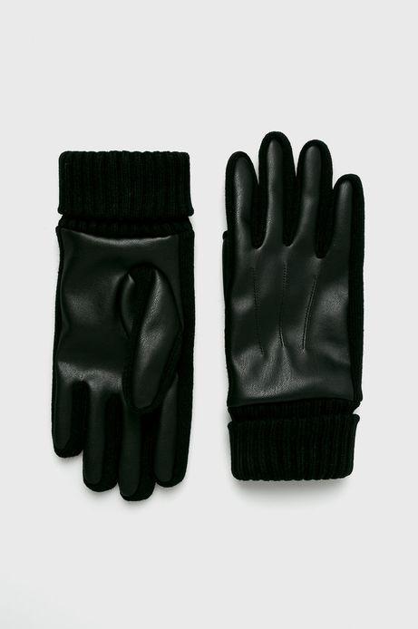 Rękawiczki męskie czarne pięciopalczaste