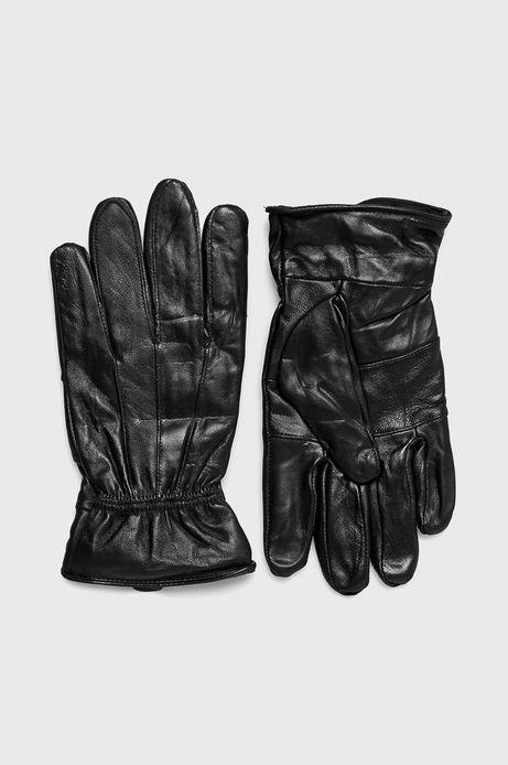 Rękawiczki męskie czarne skórzane