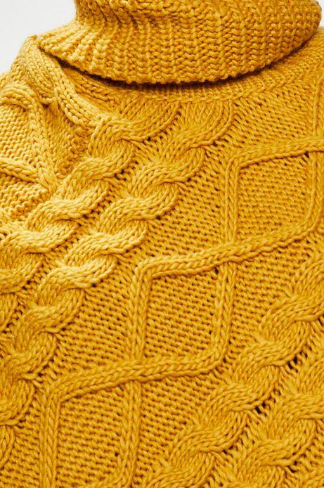 Poncho damskie żółte z golfem i ozdobnymi frędzlami
