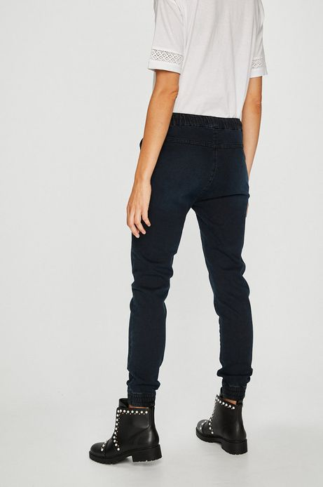 Jeansy damskie jogger czarne ze ściągaczami