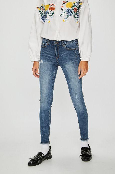 Jeansy damskie skinny niebieskie z przetarciami