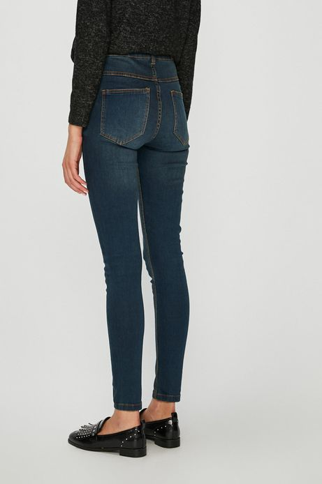 Jeansy damskie skinny granatowe z podwyższoną talią