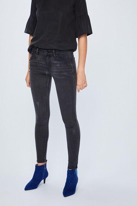 Jeansy damskie skinny czarne z dżetami