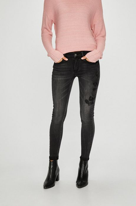 Jeansy damskie skinny czarne z haftem
