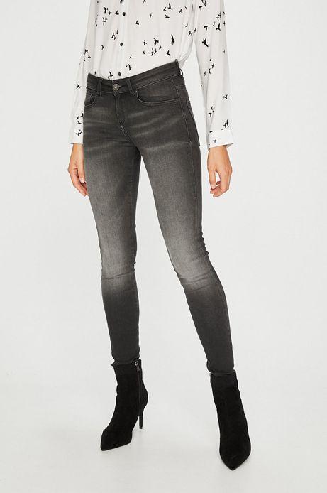 Jeansy damskie skinny czarne z suwakami