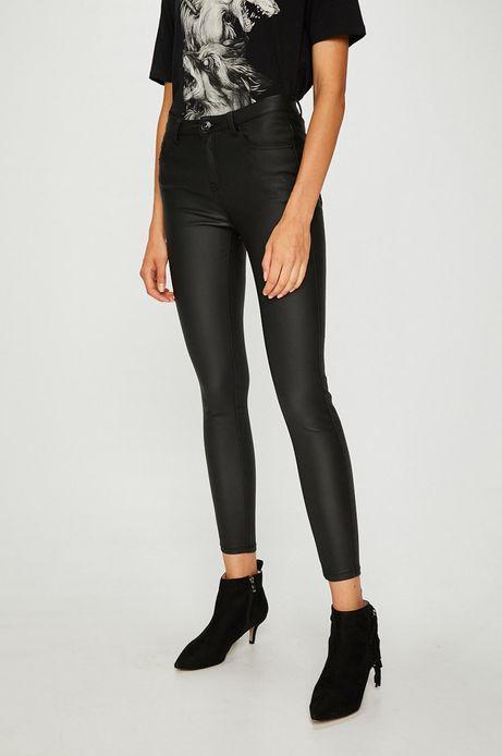 Jeansy damskie skinny czarne z woskowanego denimu