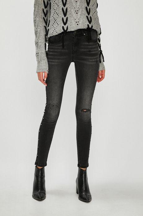 Jeansy damskie czarne ze spranego denimu z ozdobnymi detalami