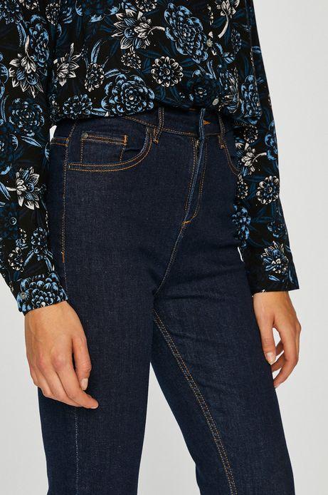 Jeansy damskie granatowe z podwyższoną talią