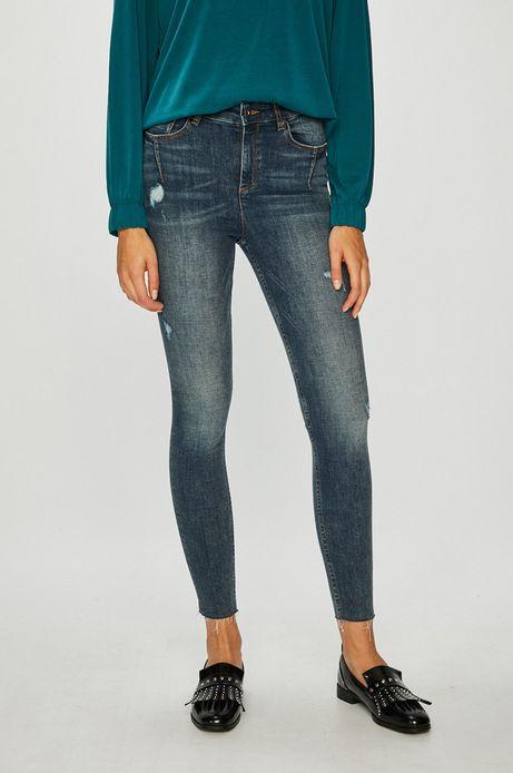 Jeansy damskie skinny niebieskie z podwyższoną talią