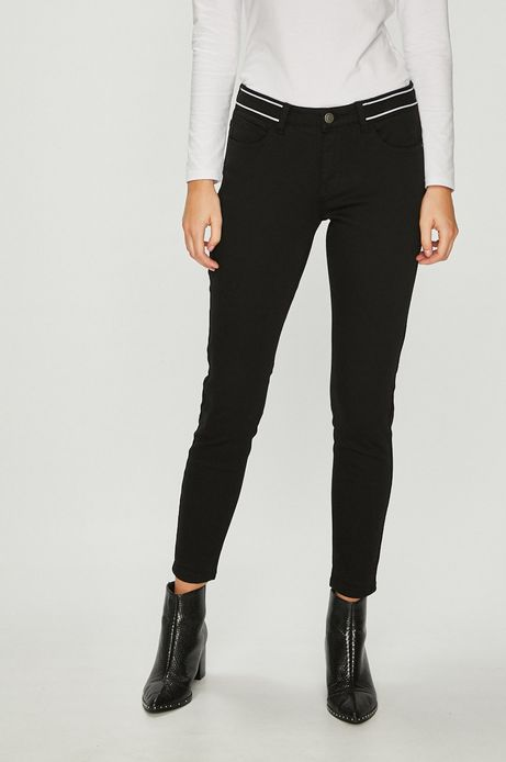 Jeansy damskie skinny czarne z regularną talią
