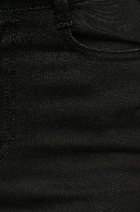 Jeansy damskie czarne z ozdobną lamówką