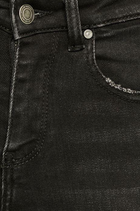 Jeansy damskie czarne z ozdobnym detalem na nogawce