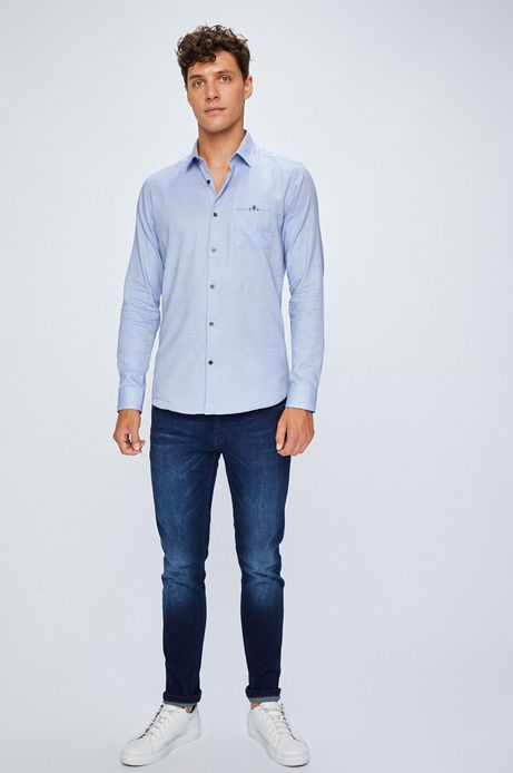 Jeansy męskie slim fit sprany denim