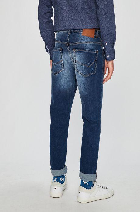 Jeansy męskie tapered niebieskie ze spranego denimu