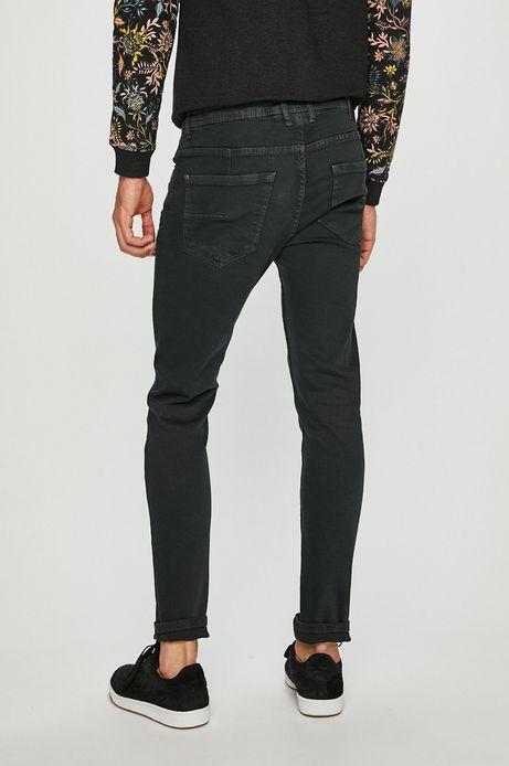 Jeansy męskie slim z regularną talią turkusowe