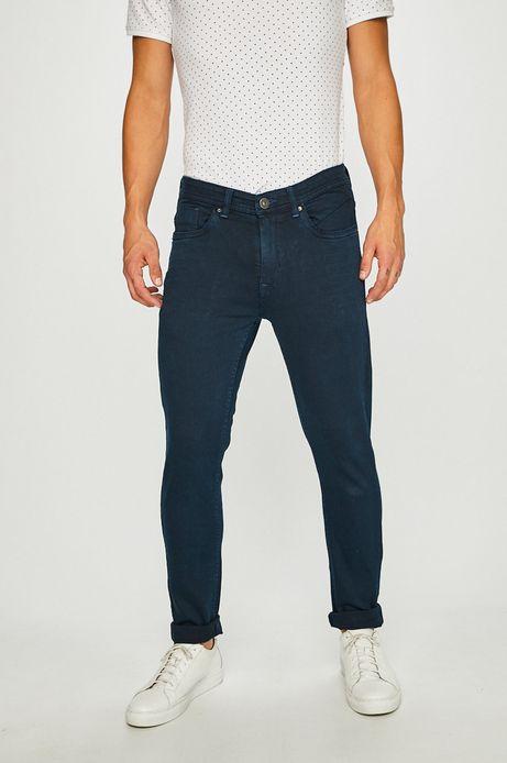Jeansy męskie slim z regularną talią niebieskie