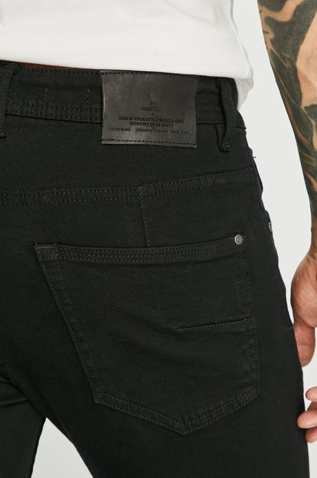 Jeansy męskie slim z regularną talią czarne