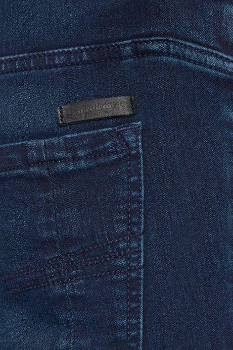 Jeansy męskie slim fit granatowe z marszczeniami