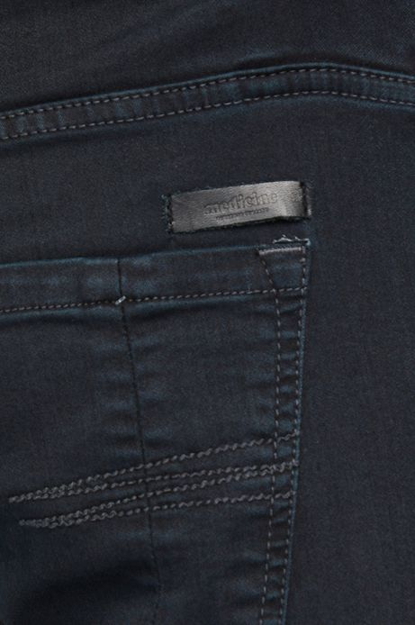 Jeansy męskie slim fit szare z marszczeniami