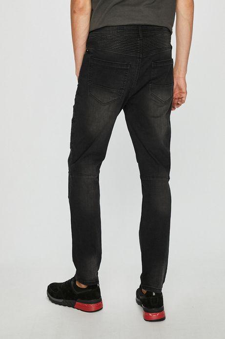 Jeansy męskie czarne ze spranego denimu z przeszyciami