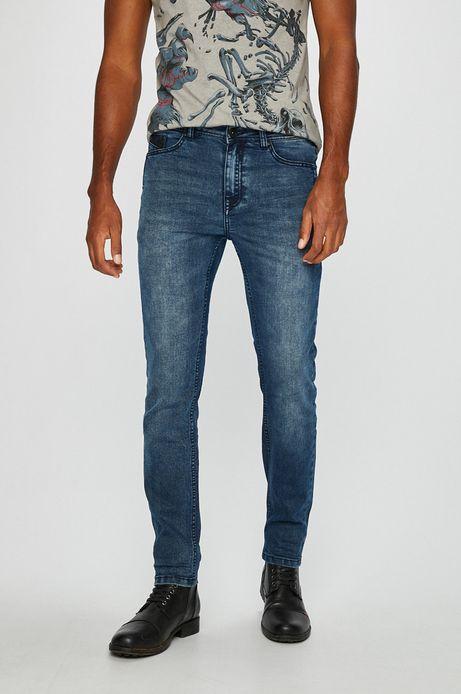 Jeansy męskie slim granatowe z podwyższoną talią