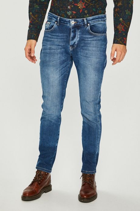 Jeansy męskie tapered niebieskie