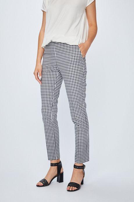 Spodnie damskie proste w kratkę