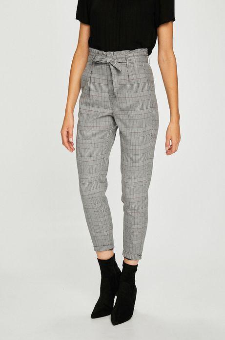 Spodnie damskie szare proste w kratę z podwyższonym stanem