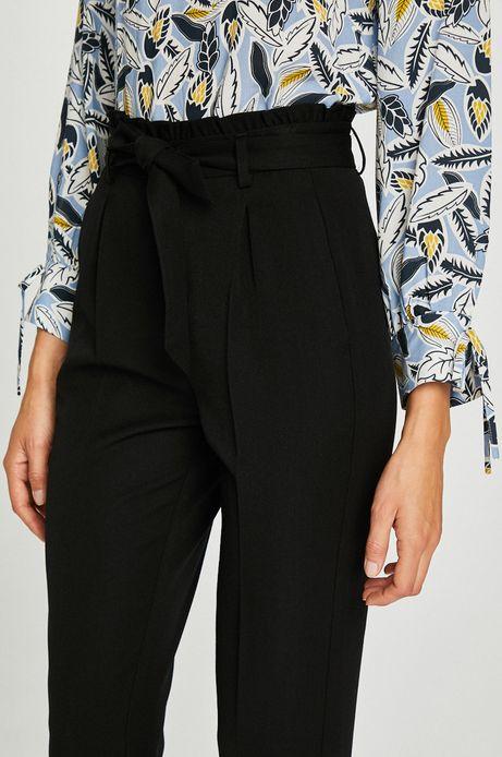 Spodnie damskie czarne proste z podwyższonym stanem