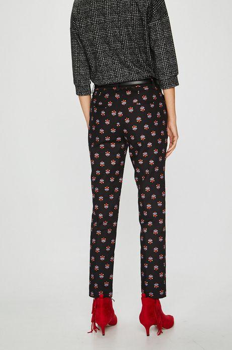 Spodnie damskie proste czarne we wzory
