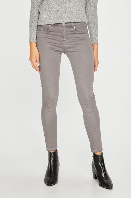 Spodnie damskie szare gładkie rurki