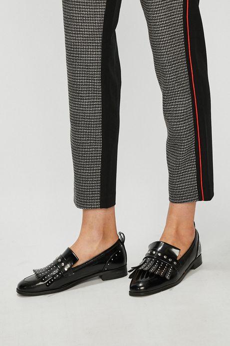 Spodnie damskie proste czarne wzorzyste