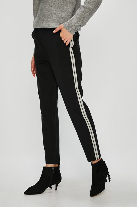 Spodnie damskie proste czarne z lampasami