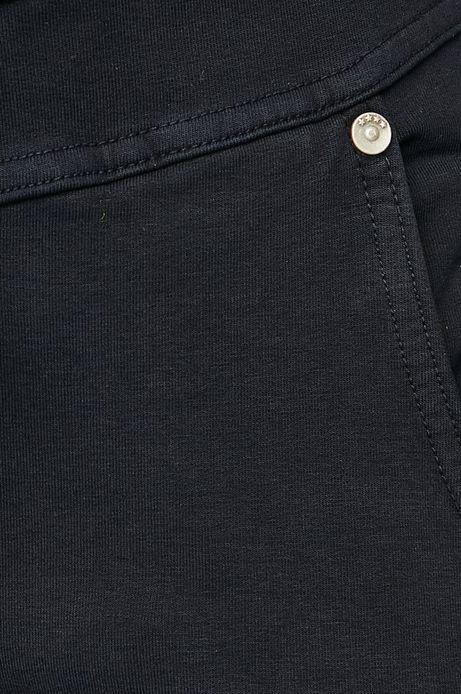 Spodnie damskie granatowe z dopasowaną nogawką